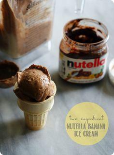 Nutella Banana Ice Cream ::: bake at 350 ~ 2 ingredients.bananas and Nutella! Frozen Desserts, Frozen Treats, Just Desserts, Delicious Desserts, Dessert Recipes, Yummy Food, Healthy Food, Healthy Ice Cream, Banana Ice Cream