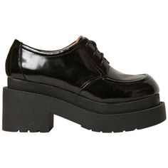 JEFFREY CAMPBELL 80mm Brushed Calfskin Lace Up Shoes - Black (645 CNY) ❤ liked on Polyvore featuring shoes, boots, black, flats, footwear, black flats, black flat shoes, high heel platform shoes, flat shoes and lace up flat shoes