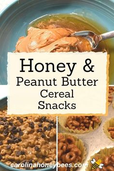 Create a sweet treat with this easy honey recipe. The combination of honey, peanut butter and cereal for a pick me up to keep you going. Snacks To Make, Easy Snacks, Yummy Snacks, Peanut Butter Snacks, Creamy Peanut Butter, Honey Recipes, Healthy Recipes, Eating Raw, Healthy Eating