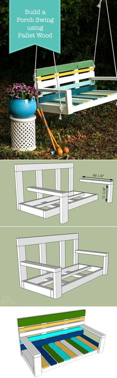 Build a Striped Porch Swing using Pallet Wood and super strong, super fast-drying Krazy Glue! Free building plans. #ad #KrazyGlue