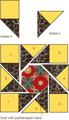 Waltzing Matilda Quilt Block pattern and templates on Oregon Coastal Quilters' Guild at http://www.oregoncoastalquilters.org/blocks/blocks-05-10-11.htm