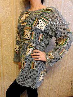 Купить Туника Пэчворк - одежда, одежда для женщин, одежда летняя, Вязание крючком, вязание на заказ
