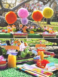 Lorax Dr. Seuss pom pom decoración fiesta evento infantil cumpleaños comunión kids children birthday communion party decoration miraquechulo