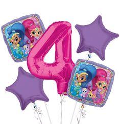 $12.99 - Shimmer And Shine 4Th Birthday Party Favor Supplies Balloon Bouquet 5Pc #ebay #Home & Garden