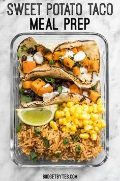 This simple Sweet Potato Taco Meal Prep box is easy, vegetarian, and a full flavored make ahead lunch.