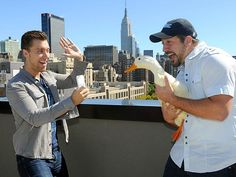 Did you hear the one about the two singers and the duck? Lance Bass and former 'NSYNC bandmate Joey Fatone goof around with the Aflac duck during an event for N.Y.C.'s Advertising Week. http://www.people.com/people/gallery/0,,20738215,00.html#30025570