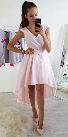 A-Line V-Neck Cap Sleeves High-Low Pink Homecoming Dress,Spaghetti Sexy Cocktail Dress,Cheap Prom Dress,Formal – Preteen Clothing Cheap Cocktail Dresses, Cheap Prom Dresses, Homecoming Dresses, Short Dresses, Graduation Dresses, Preteen Fashion, V Neck Cocktail Dress, Elegant Dresses, Party Dress