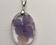 Items similar to Hydrangea Petal Rosin Necklace on Etsy Resin Necklace, Pendant Necklace, Handmade Necklaces, Handmade Gifts, Clear Resin, Stainless Steel Chain, Dried Flowers, Hydrangea, Necklace Lengths