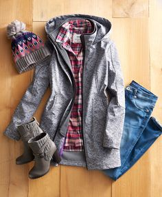 Be prepared for anything this fall. That means always having an extra layer, like this hooded jacket, close by and a cozy hat to throw on when temperatures drop. Featured product includes: Tek Gear soft shell hooded jacket, Rock & Republic skinny jeans, Juicy Couture ankle boots, SONOMA Goods for Life flannel shirt and SO pom-pom hat.