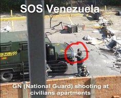 Guardia Nacional (National Guard) shooting at civilians apartments in Venezuela #sosvenezuela #prayforvenezuela #iamyourvoicevenezuela