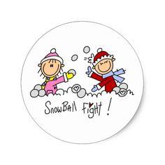 Stick Figures Snowball Fight Classic Round Sticker