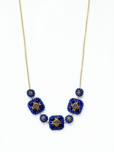 Miguel Ases Blue & Gold Beaded Necklace $132 Gilt