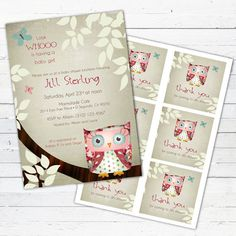 Owl baby shower invite from my etsy shop