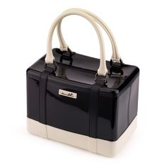 Satchel handbag in solid coloured bright PVC with rubber label