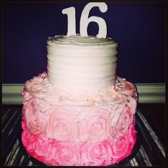 Simple sweet 16 cake. I love the roses, just not the pink