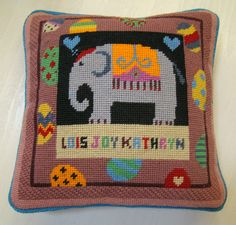 E for Elephant, from A-Z Animals range. Hearts replacing the 'E', and stitched for Lois. Pin Cushions, Christening, New Baby Products, Hearts, Tapestry, Range, Stitch, Blanket, Sewing