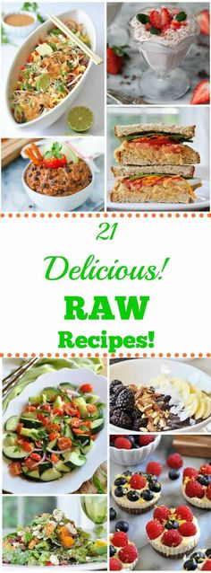 21 colorful and delicious whole food plant-based raw recipes that will make summer meals easy. 21 colorful and delicious whole food plant-based raw recipes that will make summer meals easy. Raw Vegan Dinners, Raw Vegan Recipes, Vegetarian Recipes, Healthy Recipes, Paleo, Eat Healthy, Vegan Raw, Vegan Food, Raw Food Diet Plan