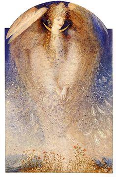 "Gennady Spirin illustrator Tale by Alexander Pushkin ""Tsar Saltan"" Children's Book Illustration, Illustrations, Angel Artwork, Antique Art, Les Oeuvres, Pop Art, Fantasy Art, Fairy Tales, Fine Art"