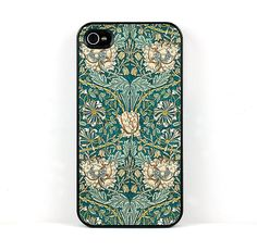 Floral iPhone 4 or 5 Case, William Morris Vintage Honeysuckle Peach Flower Design, Plastic iPhone Cover, iPhone Gear, Device Cover