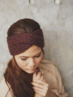 Knit Turban Headband  Dark Brown 100 Percent wool by RumRaisins, $34.95