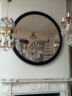 Large French House Made Round Ebonised Mirror