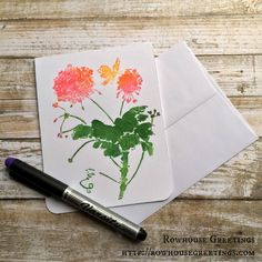 Watercolor Style Geraniums by RowhouseGreetings - Cards and Paper Crafts at Splitcoaststampers