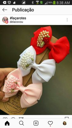 Love the pearls Diy Hair Bows, Diy Bow, Bow Hair Clips, Ribbon Art, Diy Ribbon, Ribbon Bows, Ribbons, Flower Girl Headbands, Diy Headband