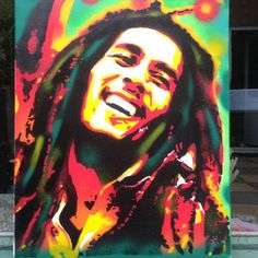 Bob Marley painting,stencil art,spray paints on canvas,trench town rock,wailers,green,red,yellow,reggae,music,dreadlock,portrait,icon,urban