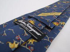 Auth SALVATORE FERRAGAMO Tie Elephants Marching on Blue Silk Italian Necktie #SalvatoreFerragamo #Tie