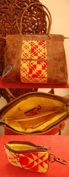 HANDMADE LEATHER AND OAXACAN EMBROIDERED PURSE