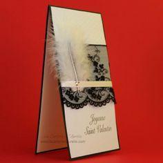 Carte saint valentin sexy, plume et dentelle.