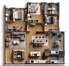 House Floor Design, Sims House Design, Home Design Floor Plans, Home Building Design, Small House Design, Modern House Design, 3d Home Design, Villa Design, Plan Design