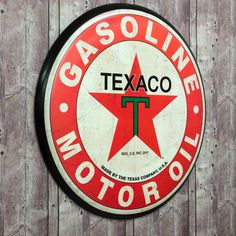 Texaco Gasoline Motor Oil Large Tin Button Sign⎜Open Road Brands