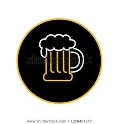 Icon retro style illustration of vintage beer mug with foam neon light on isolated background. Find Icons, Buy Beer, Retro Fashion, New Pictures, Royalty Free Photos, Neon Signs, Retro Illustration, Neon Lighting, Mugs