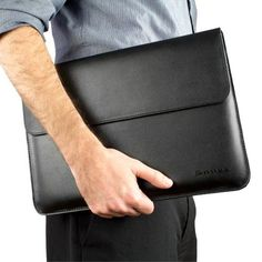 Snugg MacBook Air & MacBook Pro With Retina Leather Sleeve Case in Black - High Quality Case with Card Slot, Pocket and Premium Nubuck Fibre Interior Macbook Pro Cover, Macbook Air 13 Inch, Macbook Case, Leather Bag, Black Leather, Laptop Briefcase, Ipad, Leather Accessories, Laptop Sleeves