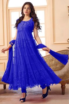 Enter with your desired ethnic look at this weekend get together. Get a fresh and graceful look with this gorgeous salwar kameez. Beautiful Blue Colored Salwar kameez is Brilliantly Crafted with Fabri...