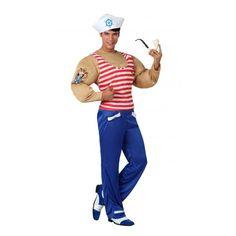 Gespierde matroos kostuum voor heren. Matrozen kostuum voor heren met een gespierd bovenlijf, rood met wit gestreept shirtje en blauwe broek. Inclusief pet. Carnavalskleding 2015 #carnaval