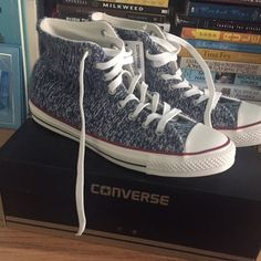 Brand New Limited Edition Converse! NWT and Box! Size 8.5 Mens and 10.5 Women's. These converse are made of a soft sweater-like knit material and are so warm! Perfect pair of Converse for Winter! Converse Shoes Sneakers