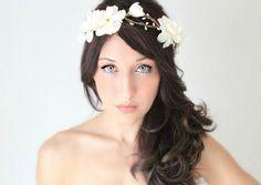 Flower Crown,Wedding,  Ivory or white, Tiara, Bridal Hair Wreath, head wreath, fairy, woodland - LENORA - by DeLoop