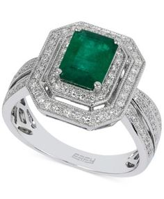 Brasilica by EFFY Emerald (1-3/8 ct. t.w.) and Diamond (3/8 ct. t.w.) Ring in 14k White Gold | macys.com
