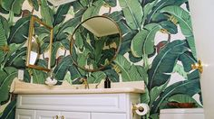 Green Powder Room with Banana Leaf Wallpaper