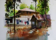 Milind Mulick stronger the light .darker become shadow Landscape Drawing Tutorial, Landscape Drawings, Landscapes, African Art Paintings, Modern Art Paintings, Watercolor Paintings Nature, Watercolours, Watercolor Scenery, Watercolor Fashion