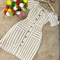 Swans Style is the top online fashion store for women. Shop sexy club dresses, jeans, shoes, bodysuits, skirts and more. Casual Dresses, Fashion Dresses, Short Frocks, Clothing Staples, Frocks For Girls, Frock Design, Best Prom Dresses, Online Fashion Stores, Striped Dress