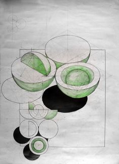 Descriptive Geometry, three tangent spheres exercise . Pencil + Colored Crayons on 50x70 Standard Paper, 5 Hours Completion Time #architecture #architect #rendering