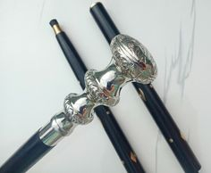 Wood Brass Antique Designer BLACK Walking Cane Victorian Vintage Stick Style