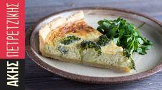 Τάρτα με μπρόκολο   Kitchen Lab by Akis Petretzikis Spanakopita, Biscotti, Baked Potato, Quiche, Ham, Broccoli, Cooking Recipes, Mint, Cheese