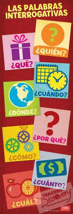 Spanish Question Words Poster las palabras interrogativas #spanishclassroomdecor…