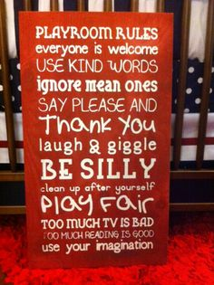 Playroom Rules- Rustic Red- Perfect for decorating a kids playroom!! http://www.shopsugarbabies.com/