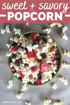 Popcorn recipes are so fun to make at home!  This sweet and savory popcorn combo is perfect for a healthy snack.  You'll love this flavored pocorn! #popcorn