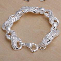 Elegant Winding Dragon Sterling Silver Bracelet